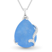 10.88ct Pear-Shaped Blue Jade & Round Cut Diamond Pendant & Chain Necklace in 14k White Gold