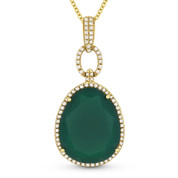 11.46ct Pear-Shaped Green Agate & Round Cut Diamond Halo Pendant & Chain Necklace in 14k Yellow Gold