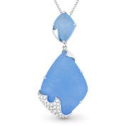 11.47ct Fancy Cut Blue Jade & Round Diamond Pave Pendant & Chain Necklace in 14k White Gold