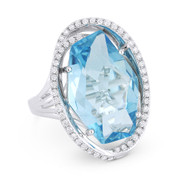 11.49ct Fancy Checkerboard Blue Topaz & Diamond Oval Halo Cocktail Ring in 14k White Gold