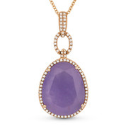 13.81ct Pear-Shaped Purple Jade & Round Cut Diamond Halo Pendant & Chain Necklace in 14k Rose Gold