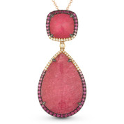 15.13ct Pink Tourmaline, Sapphire, Diamond Statement Pendant & Chain Necklace in 14k Rose & Black Gold