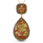 15.86ct Bloodstone Jasper & Brown Diamond Pave Statement Pendant & Chain Necklace in 14k Rose & Black Gold