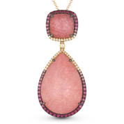 18.24ct Pink Sapphire & Diamond Pave Statement Pendant & Chain Necklace in 14k Rose & Black Gold