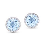 2.01ct Round Brilliant Cut Blue Topaz & Diamond Halo Martini Stud Earrings in 14k White Gold