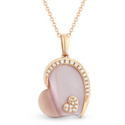 2.02ct Pink Mother-of-Pearl & Diamond Sideways-Heart Charm Pendant & Chain Necklace in 14k Rose Gold