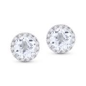2.02ct Round Brilliant Cut White Topaz & Diamond Halo Martini Stud Earrings in 14k White Gold