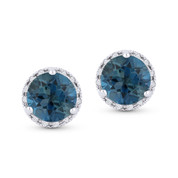 2.07ct Round Brilliant Cut London-Blue Topaz & Diamond Halo Martini Stud Earrings in 14k White Gold