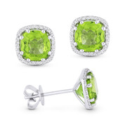 2.51ct Cushion Cut Peridot & Round Diamond 8-Prong Square-Halo Stud Earrings in 14k White Gold
