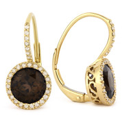 2.78ct Round Brilliant Cut Smoky Quartz & Diamond Leverback Drop Earrings in 14k Yellow Gold