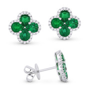 2.81ct Pear-Shaped Emerald Cluster & Round Cut Diamond Pave Flower Stud Earrings in 18k White Gold