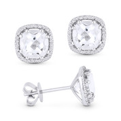 2.88ct Cushion Cut White Topaz & Round Diamond 8-Prong Square-Halo Stud Earrings in 14k White Gold