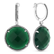 24.78ct Checkerboard Green Agate & Round Cut Diamond Halo Dangling Earrings in 14k White Gold