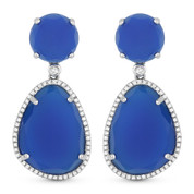 25.75ct Blue Agate & Diamond Pave Dangling Earrings in 14k White Gold