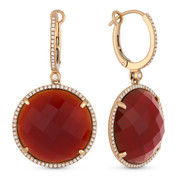 25.96ct Checkerboard Red Agate & Round Cut Diamond Halo Dangling Earrings in 14k Rose Gold