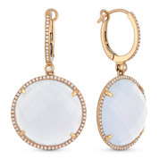 26.32ct Checkerboard Chalcedony & Round Cut Diamond Halo Dangling Earrings in 14k Rose Gold