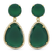 26.57ct Green Agate & Diamond Pave Dangling Earrings in 14k Yellow Gold