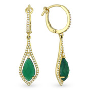 3.11ct Pear-Shaped Checkerboard Green Agate & Round Cut Diamond Pave Dangling Earrings in 14k Yellow Gold