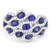 3.22ct Oval Cut Sapphire & Round Diamond Pave Right-Hand Statement Ring in 14k White Gold