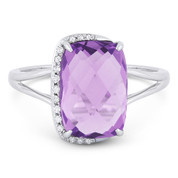 3.41ct Checkerboard Cushion Amethyst & Round Cut Diamond Right-Hand Fashion Ring in 14k White Gold
