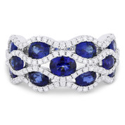 3.53ct Oval Cut Sapphire & Diamond Pave Right-Hand Wide Statement Ring in 18k White Gold
