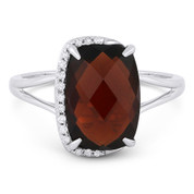 4.14ct Checkerboard Cushion Garnet & Round Cut Diamond Right-Hand Fashion Ring in 14k White Gold