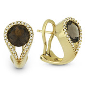 4.38ct Round Brilliant Cut Smoky Topaz & Diamond Pave Huggie Earrings in 14k Yellow Gold