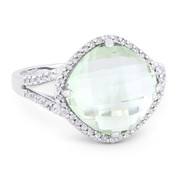 4.84ct Checkerboard Cushion Green Amethyst & Round Cut Diamond Right-Hand Cocktail Ring in 14k White Gold