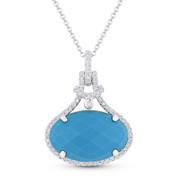 5.23ct Checkerboard Oval Blue Turquoise & Round Cut Diamond Halo Pendant & Chain Necklace in 14k White Gold