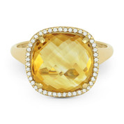 5.26ct Cushion Cut Citrine & Round Diamond Pave Right-Hand Cocktail Ring in 14k Yellow Gold