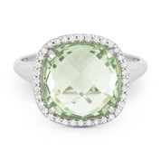 5.35ct Cushion Cut Green Amethyst & Round Diamond Pave Right-Hand Cocktail Ring in 14k White Gold