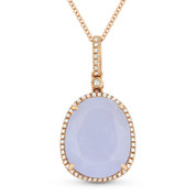 6.65ct Pear-Shaped Chalcedony & Round Cut Diamond Halo Pendant & Chain Necklace in 14k Rose Gold