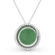 6.69ct Checkerboard Green Aventurine & Round Cut Diamond Halo Pendant & Chain Necklace in 14k White Gold