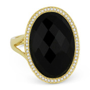7.03 ct Checkerboard Oval Onyx & Round Cut Diamond Right-Hand Cocktail Ring in 14k Yellow Gold