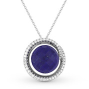 7.78ct Checkerboard Blue Lapis & Round Cut Diamond Halo Pendant & Chain Necklace in 14k White Gold