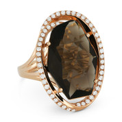 8.31ct Fancy Checkerboard Smoky Topaz & Diamond Oval Halo Cocktail Ring in 14k Rose Gold