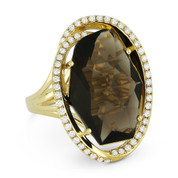8.67ct Fancy Checkerboard Smoky Topaz & Diamond Oval Halo Cocktail Ring in 14k Yellow Gold