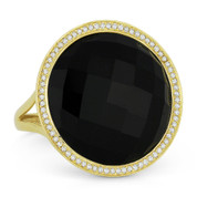 9.68ct Checkerboard Round Black Onyx & 0.22ct Round Cut Diamond Halo Cocktail Ring in 14k Yellow Gold