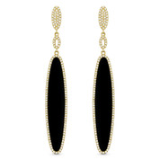 Black Onyx & 0.57ct Diamond Pave Dangling Multi-Oval Long Earrings in 14k Yellow Gold