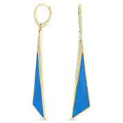 Blue Turquoise & 0.30ct Diamond Pave Dangling Fancy Triangle Stiletto Earrings in 14k Yellow Gold