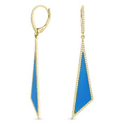 Blue Turquoise & 0.42ct Diamond Pave Dangling Fancy Triangle Stiletto Earrings in 14k Yellow Gold