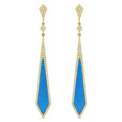 Blue Turquoise & 0.45ct Diamond Pave Arrow-Style Dangling Stiletto Earrings in 14k Yellow Gold