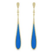 Blue Turquoise & 0.48ct Diamond Pave Dangling Tear-Drop Earrings in 14k Yellow Gold