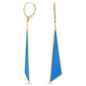 Blue Turquoise & 0.50ct Diamond Pave Dangling Fancy Triangle Stiletto Earrings in 14k Yellow Gold