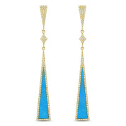 Blue Turquoise & 0.50ct Pave Dangling Long-Triangle Stiletto Earrings in 14k Yellow Gold
