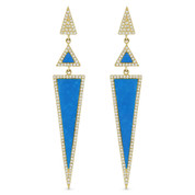 Blue Turquoise & 0.52ct Diamond Pave Dangling Multi-Triangle Stiletto Earrings in 14k Yellow Gold