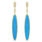 Blue Turquoise & 0.57ct Diamond Pave Dangling Multi-Oval Long Earrings in 14k Yellow Gold