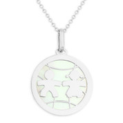 Boy & Girl Baby Mother of Pearl Child-Celebration Charm Pendant in 14k White Gold