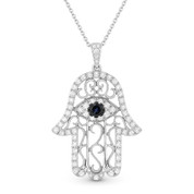 0.76ct Round Cut Sapphire & Diamond Pave Hamsa Hand Evil Eye Charm Pendant & Chain Necklace in 14k White Gold