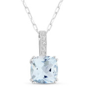 1.91ct Cushion Cut Blue Topaz & Round Diamond Pendant & Chain Necklace in 14k White Gold